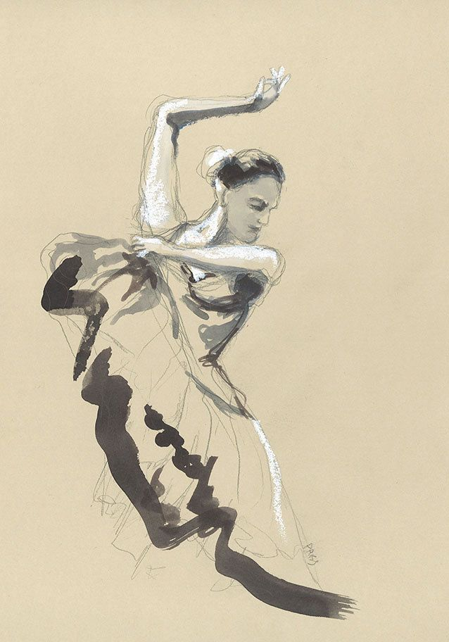 Dessin Danseuse De Flamenco Aquarelle Pastel Gras Decoration