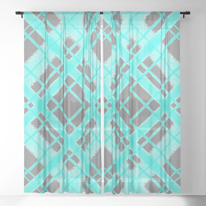 Buy Turquoise And Grey Plaid Digital Chalk Pattern Sheer Curtain By Purposelydesigned Worldwide Shipping Available At Society6 Co In 2020 Curtains Sheer Curtain Chalk