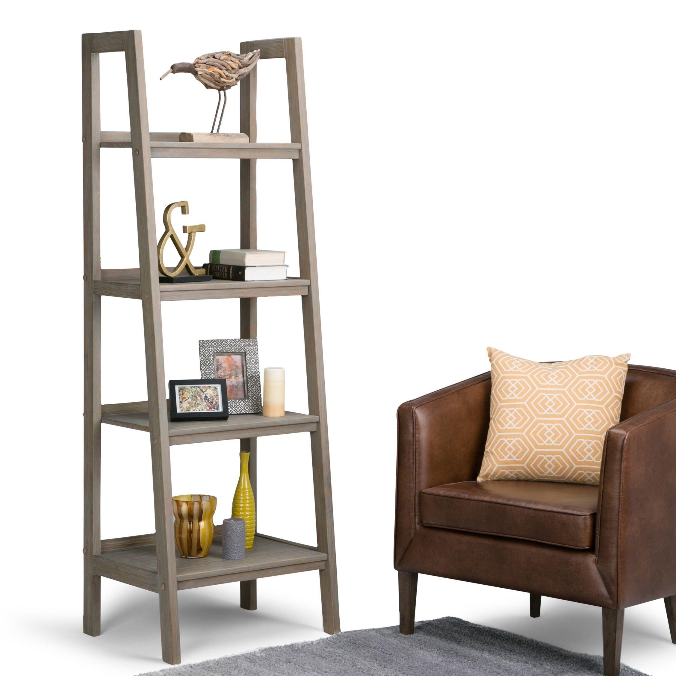 Wyndenhall Hawkins Solid Wood 72 Inch X 24 Inch Modern Industrial Ladder Shelf 24 W X 20 D X 72 H Wood Ladder Shelf Ladder Shelf Simpli Home