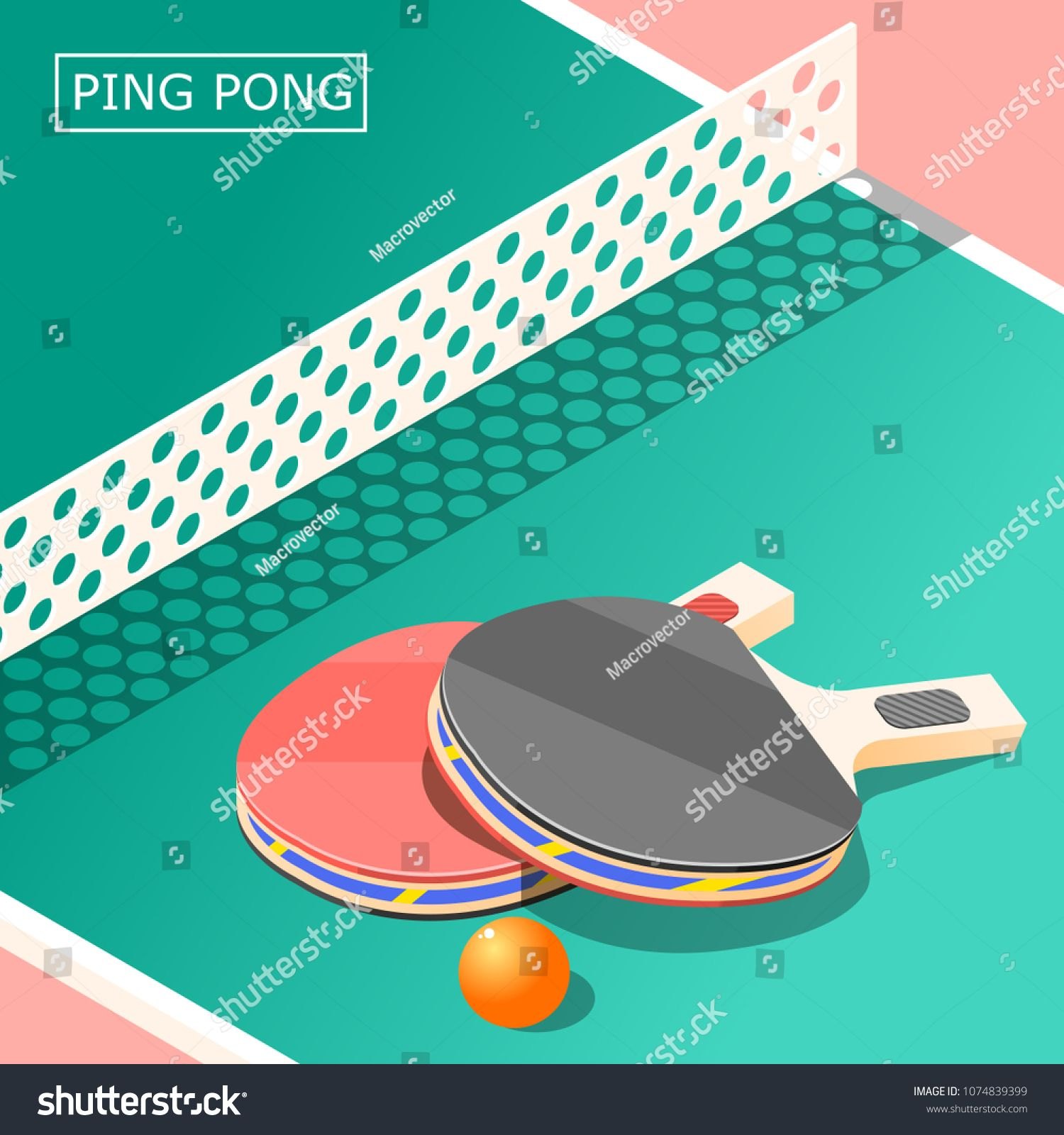 Ping Pong Isometric Background With Sports Equipment Including Table Rackets With Ball And Net Vector Illustration Ad Ad Background With Images Ping Pong Background