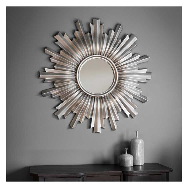 Large Round Silver Sunburst Mirror 107cm Silver Sunburst Mirror Sunburst Mirror Ornate Mirror