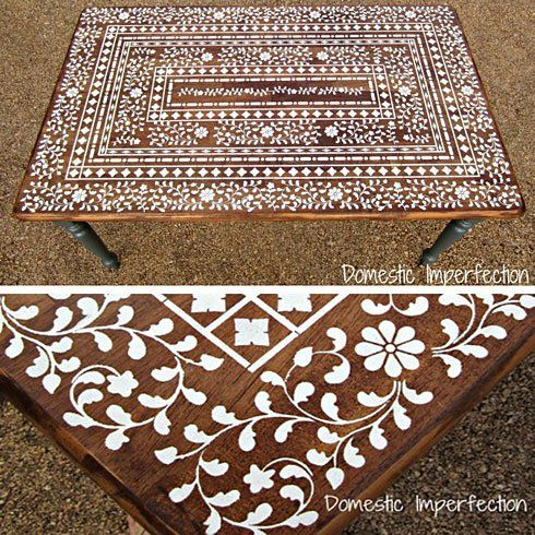 Stenciled Indian Inlay table top from Domestic Imperfections ...