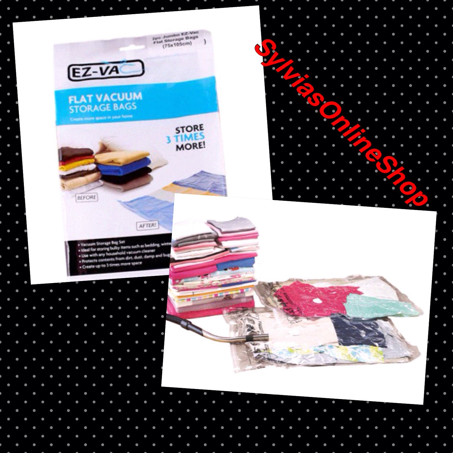SET OF 2 FLAT VACUUM BAGS  Large - H80 x W50 cm...£8 Jumbo - H105 x W75cm...£13  Ideal for storing bulky items such as bedding, out of season clothes and soft toys. Creates up to 3 times more space.  When contents are needed, just open and the contents will quickly return to their original state.  Requires the use of a vacuum cleaner.  Comment or message me to order. Thanks ☺️