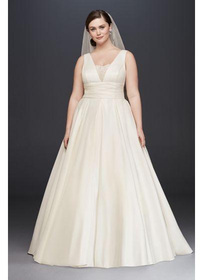 ddd16b371de67 Cummerbund Satin Plus Size Wedding Dress Style 4XL9V3848, Ivory, 22W ...