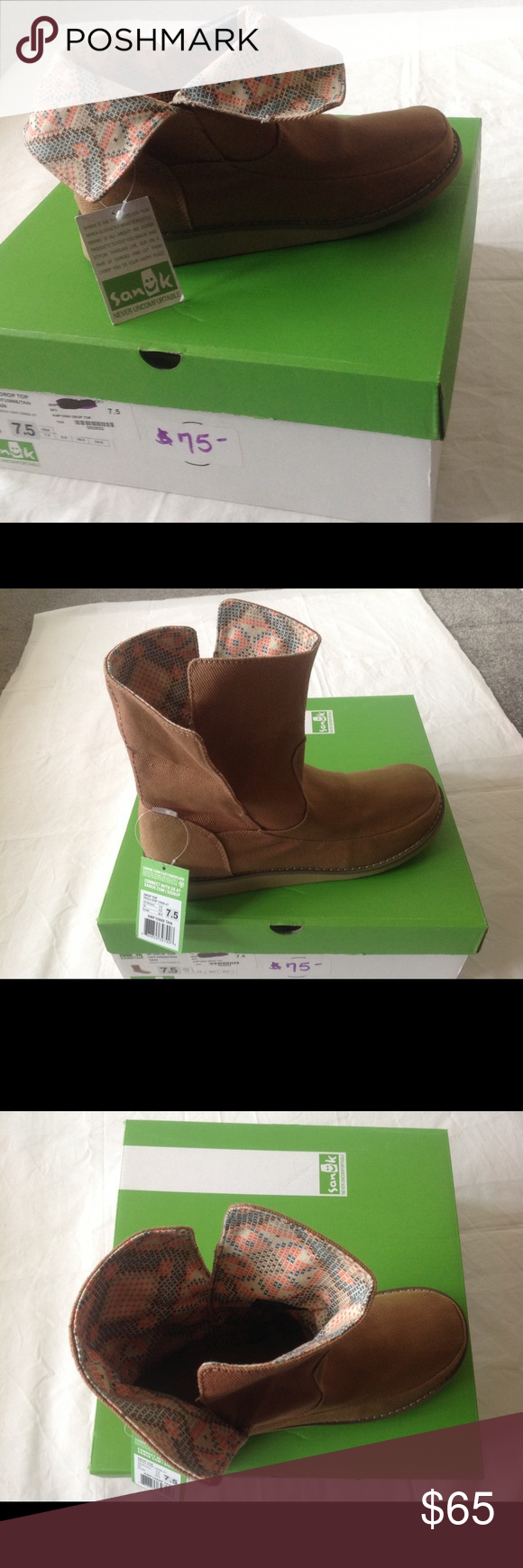 last chance sale Brand new with tags sanuk boots. They are a thick fabric and thick soles. Open to offers. But selling cheaper on merc! Sanuk Shoes Ankle Boots & Booties