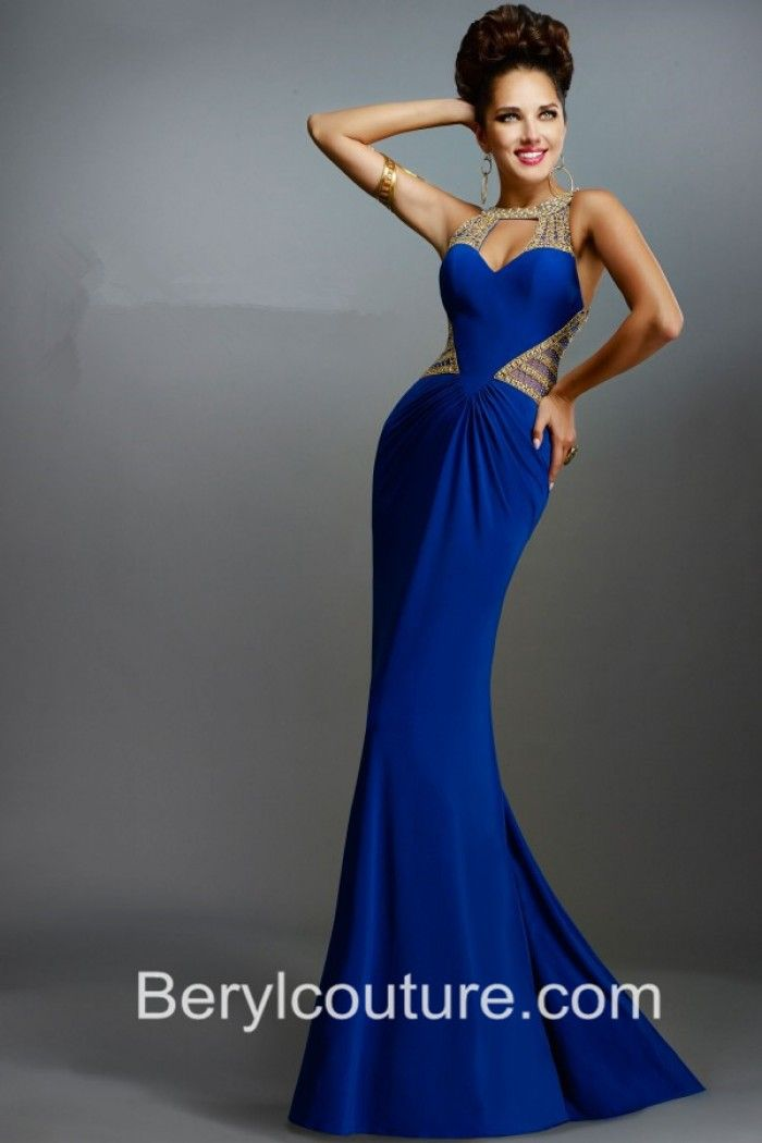 Fitted Cut Out Front Backless Royal Blue Chiffon Gold Beaded Long ...