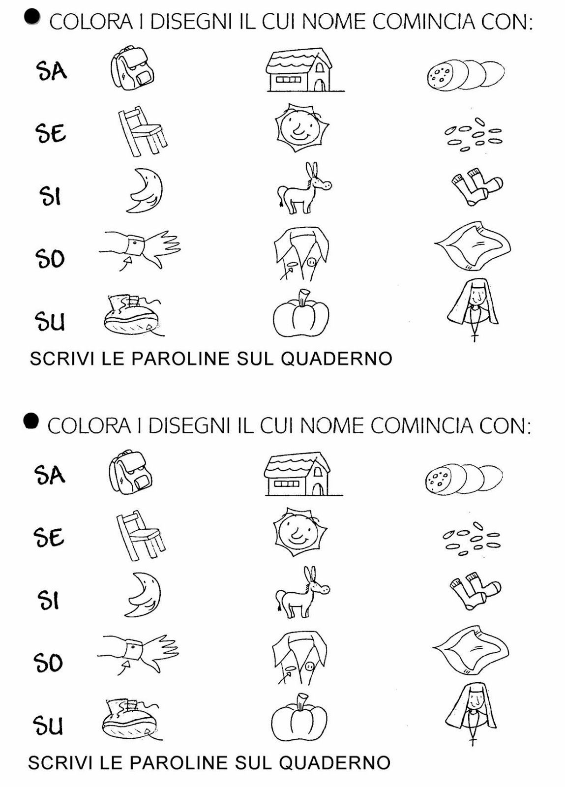 Schede didattiche per la scuola primaria giochi disegni for Suoni difficili schede didattiche
