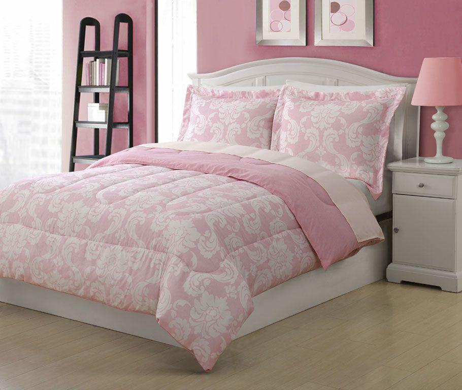 Twin Microfiber Kids Dainty Bedding Comforter Set Pink Pink