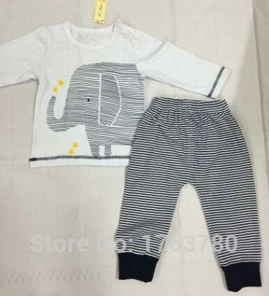 2015 roupas de bebê menino recém nascido elefante bonito de manga comprida  + calças dois grupos de bebe roupas set em Macacão Body de Mamãe e Bebê no  ... bf29fe0bae540