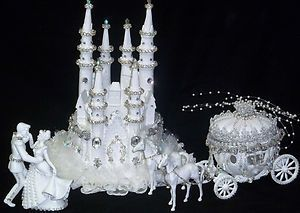 lighted cinderella castle wedding cake topper cinderella castle coach horses lighted cake topper 16859