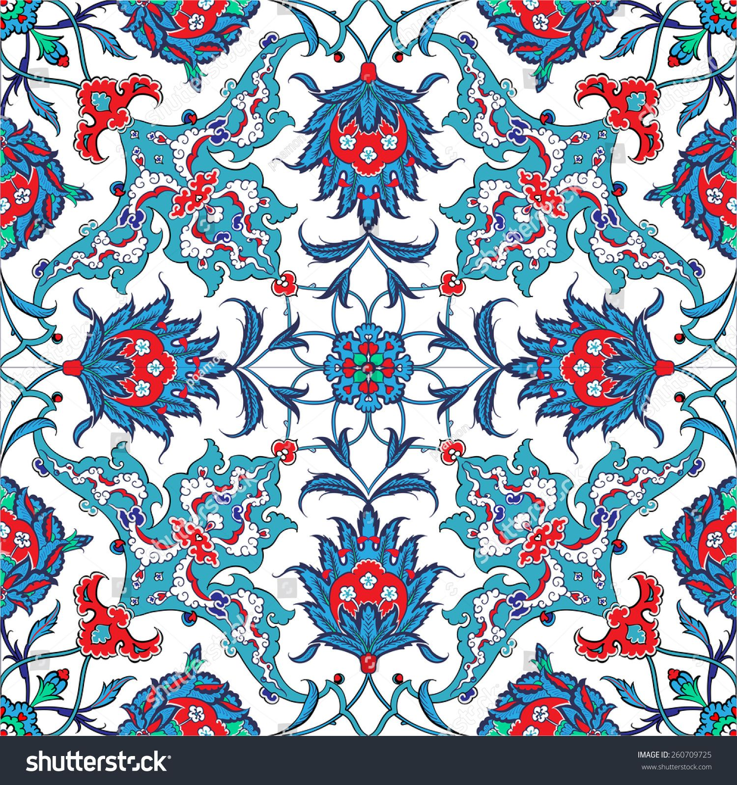 Traditional Turkish Ottoman Red Flower Home Decor Mosaic: Turkish And Ottoman Empire's Era Traditional Seamless