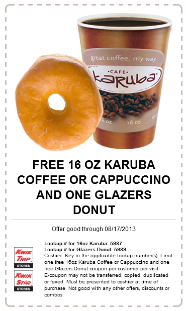 Coffee & donut free at #Kwik Trip gas stations #coupon via The