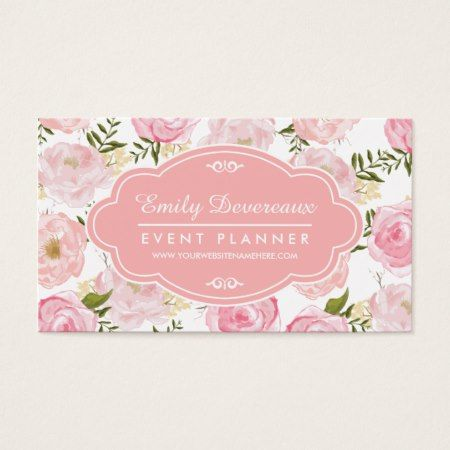 Girly vintage floral pink roses peony personalized business card girly vintage floral pink roses peony personalized business card vintage floral business cards and business reheart Images