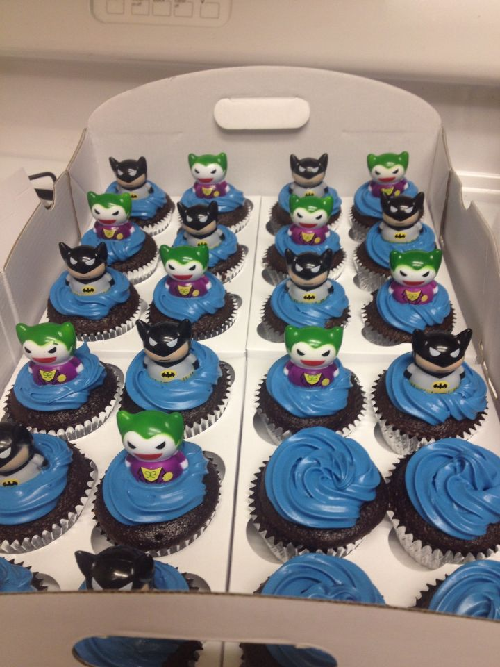 Batman and joker cupcake Toppers from party city not edible Food