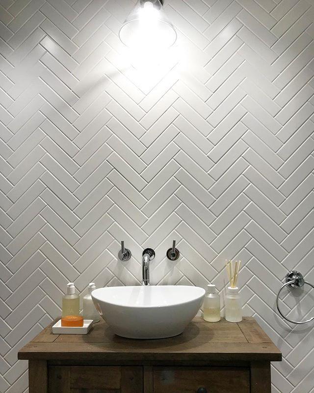 Microline White Matt Wall Tile 5x20cm Herringbone Tile Bathroom Bathroom Shower Walls White Herringbone Tile Bathroom