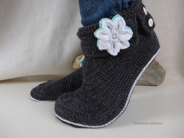 Hausschuhe // Haus-Socken // Haus-Booties selber häkeln: Häkle Deine ...