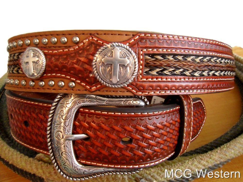 Nocona Western Belt Mens Leather Cross Tapered Brown N2497444