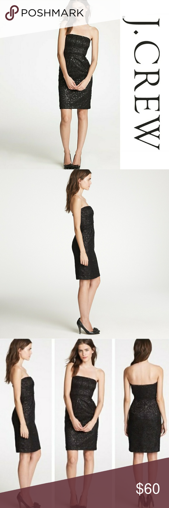 cb66f04651bd5 J Crew Tinsel Lace Dress Beautiful black lace strapless dress with metallic  threads woven into the