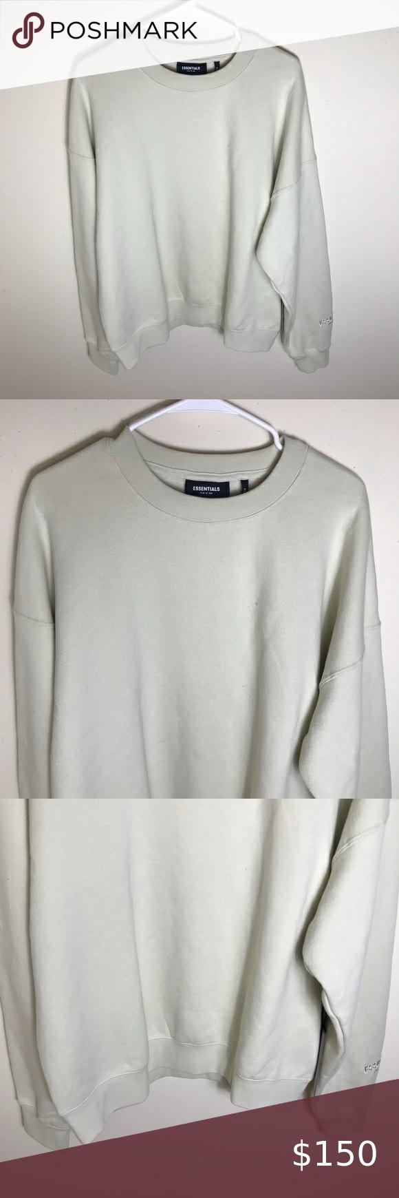 Fear Of God Essentials Cream Crewneck Sweatshirt Size Medium Oversized Fit Cream Off White Color Emb Crew Neck Sweater Crew Neck Sweatshirt Sweaters For Women [ 1740 x 580 Pixel ]