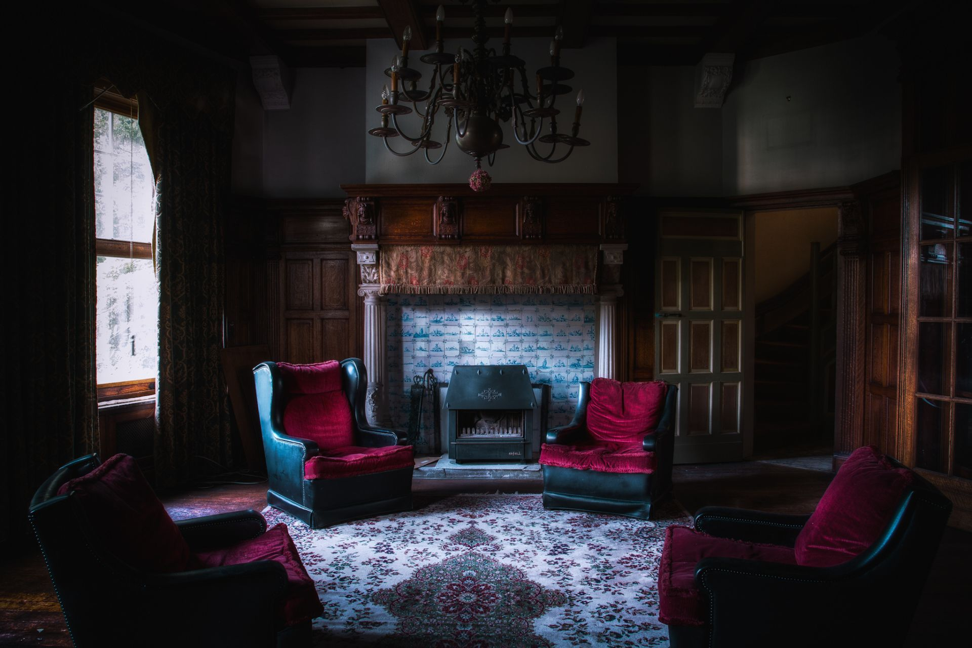 Man Made Room House Chair Fireplace Curtain Chandelier Gothic Dark Wallpaper Gothic Living Rooms Contemporary Living Room Sets Corner Fireplace Living Room
