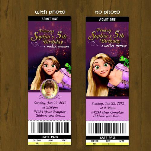 Tangled Rapunzel Printable Ticket Invitation DIY Ticket - printable ticket invitations
