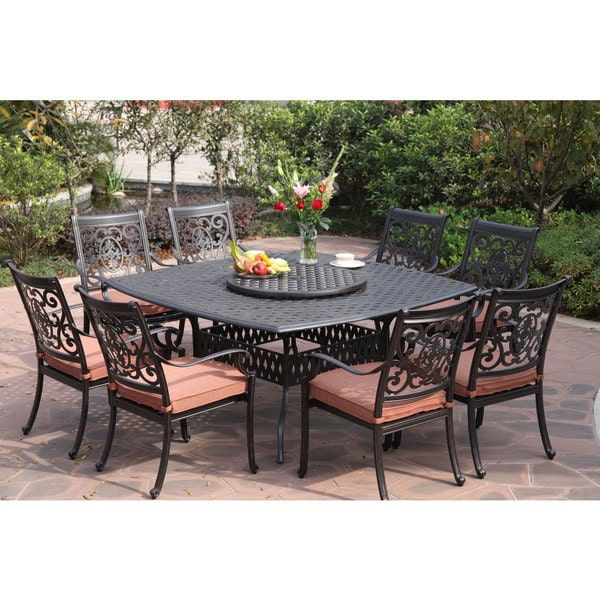 Darlee St Cruz Antiqued Cast Aluminum 10 Piece Dining Set With Spicy Chili Seat Cushions And 30 Inch Lazy Susan Antique Bronze Cast Aluminum Patio Furniture Aluminum Patio Furniture Outdoor Dining Set