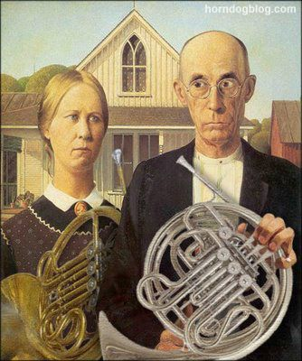 Pin By Datrice Lowry On La Musica American Gothic American Gothic Parody French Horn Humor