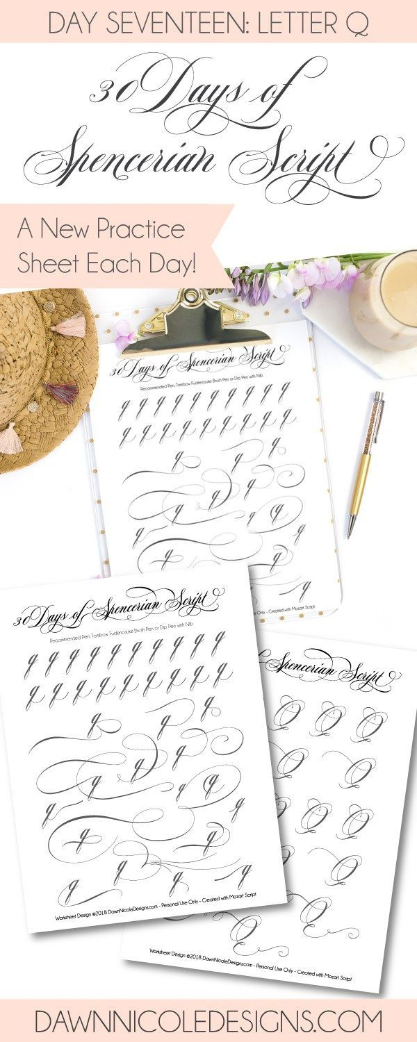 Spencerian Script Style: Letter Q Worksheets | Learn calligraphy,  Calligraphy alphabet and Dawn nicole