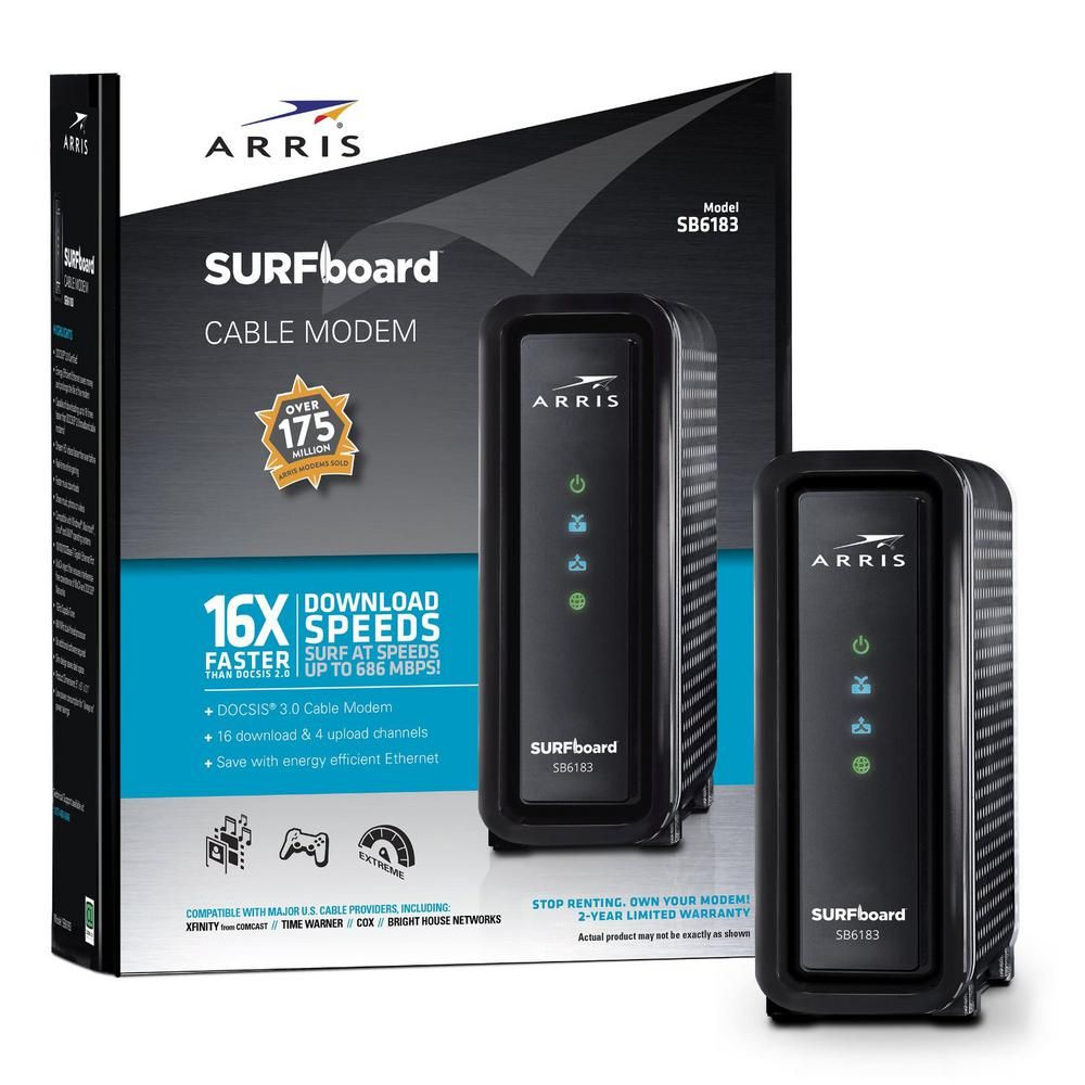 Arris surfboard docsis 30 cable modem sb6183 in black