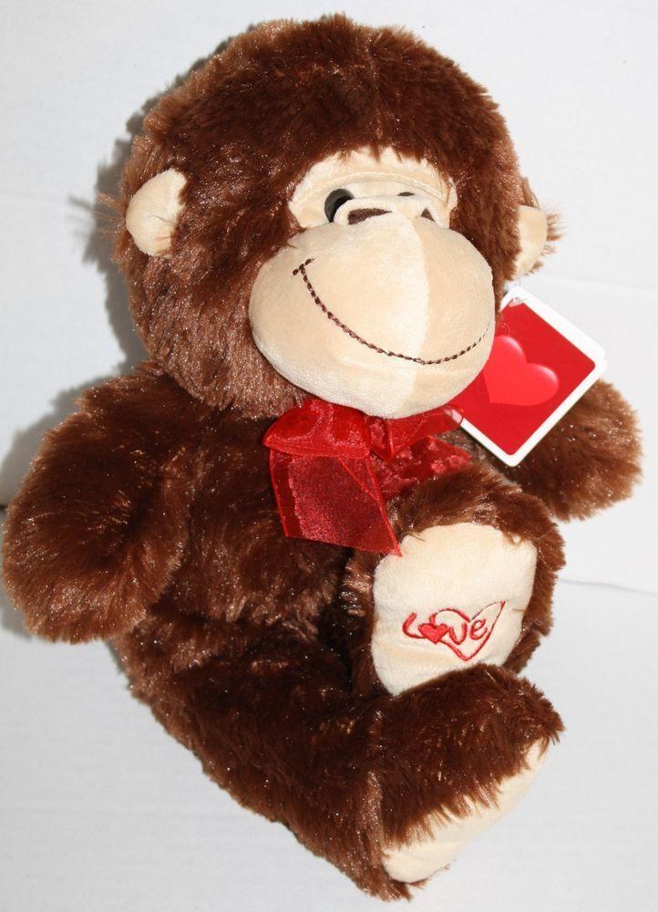 Kellytoy Monkey Valentine Day Jungle Plush Soft Toy Brown Love Heart Bow  New #Kellytoy #