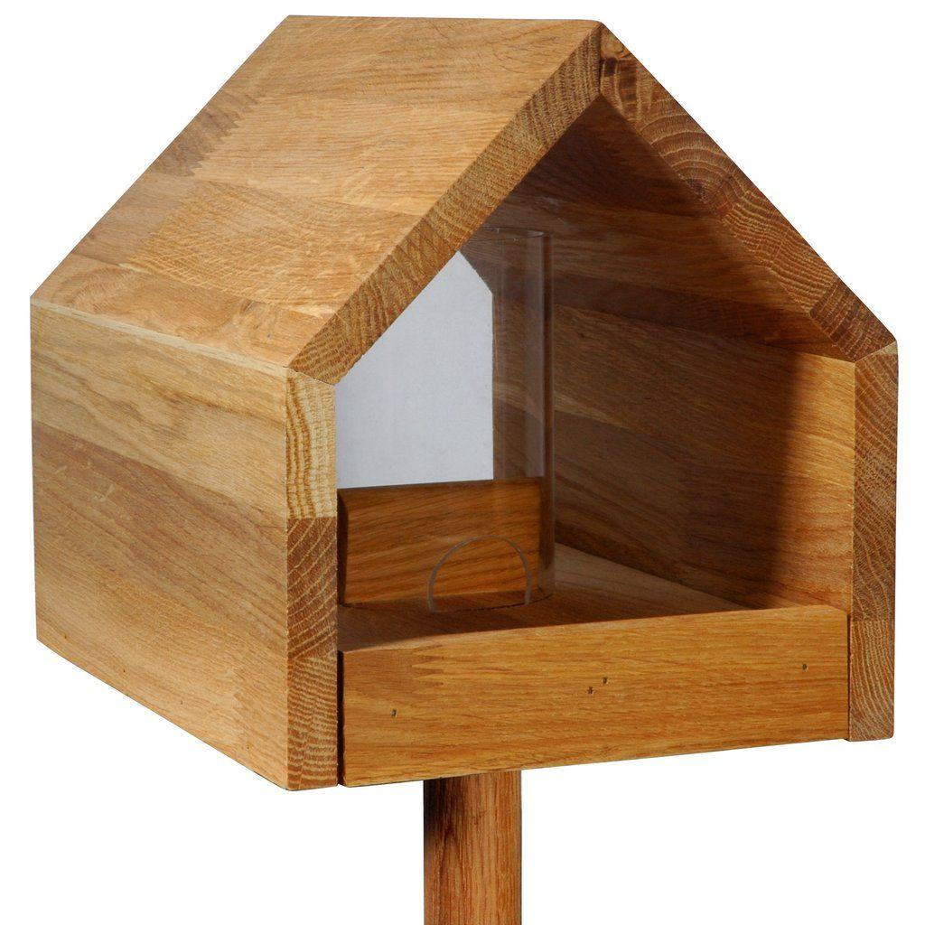 Eichenholz Vogelfutterhaus Mit Satteldach Futtertablett Silo