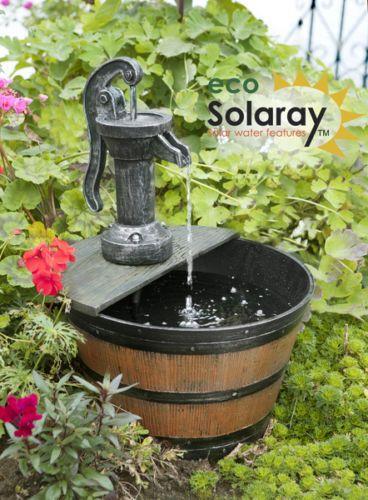 hand pump barrel water feature fountain solar powered rustic rural effect garden - Solar Powered Fountain