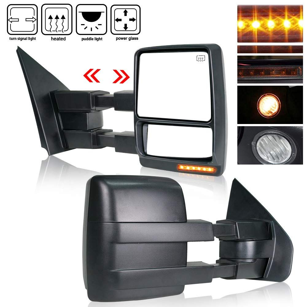 Spead Vmall Dot Approved Towing Mirrors Side View Tow Mirrors For 2007 2014 Ford F150 W Power Heated And Yellow Tur In 2020 Towing Mirrors Ford F150 Mirror Replacement