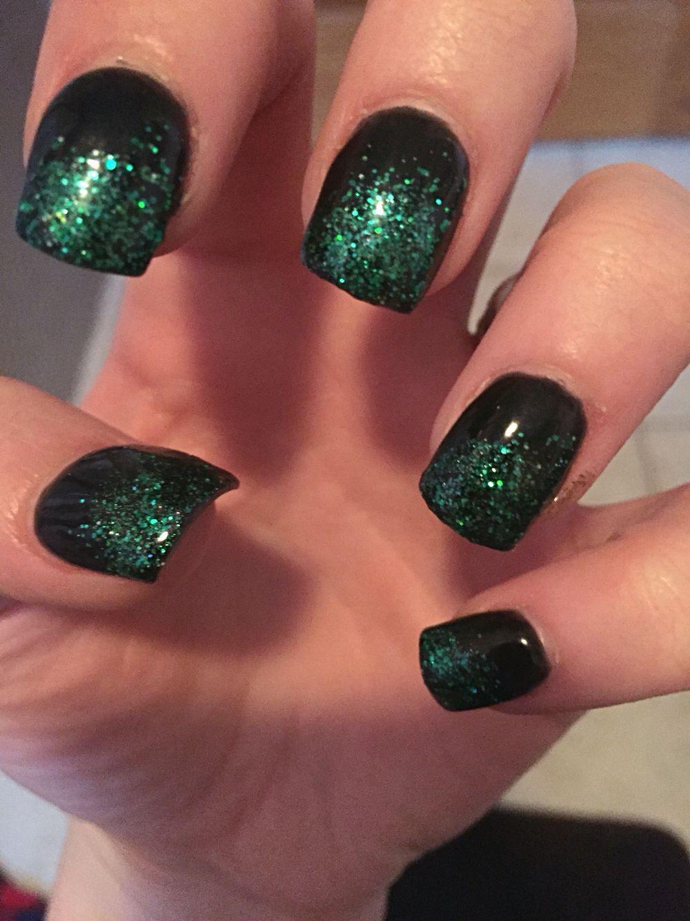 St. Patrick's Day Nails Acrylic nails. Black & Green ...