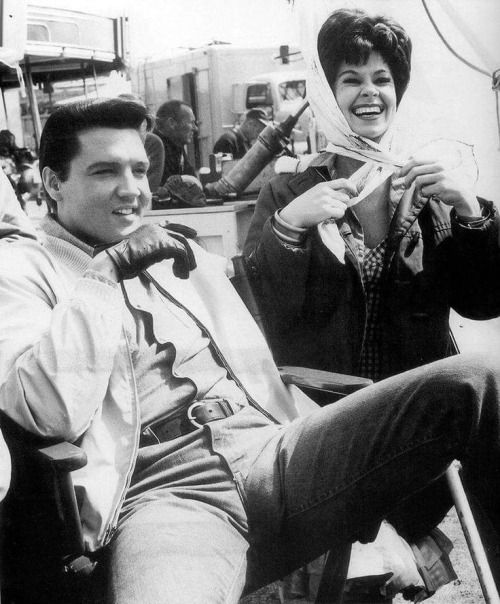 Sue Ane Langdon with Elvis on the set of 'Double Trouble'