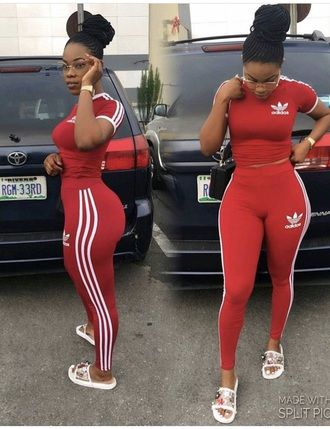 Jumpsuit adidas red leggings crop tops addidas pants addias pants adidas originals addidas shirt ...