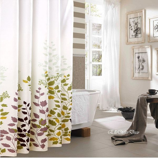 Fall Leaves Shower Curtain In White And Gray Bathroom Sophisticated Curtains For Guest Bathrooms From The Bliss Blog By Rotator Rod