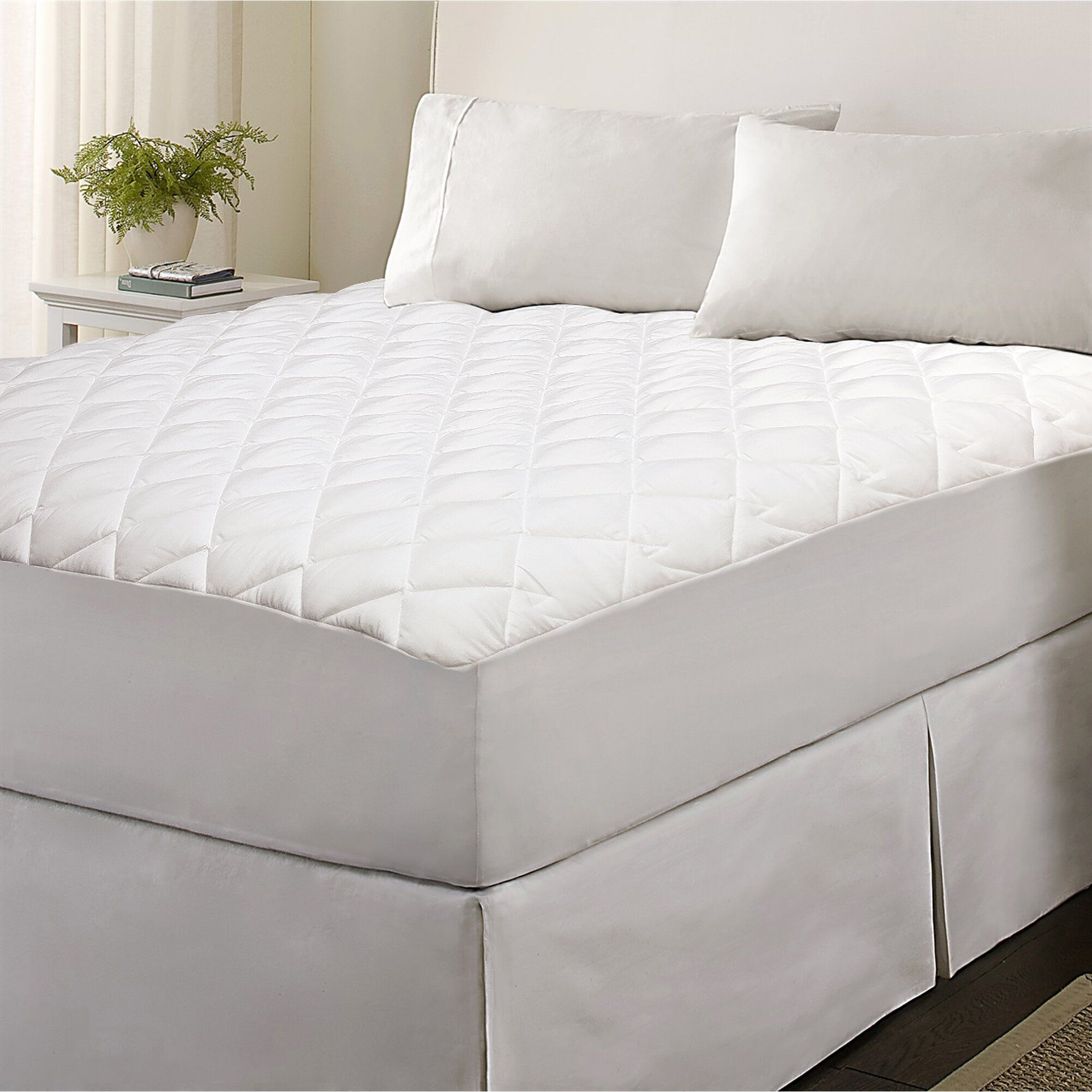 Quilted Mattress Pad Cover Cooling Fluffy Soft Topper upto
