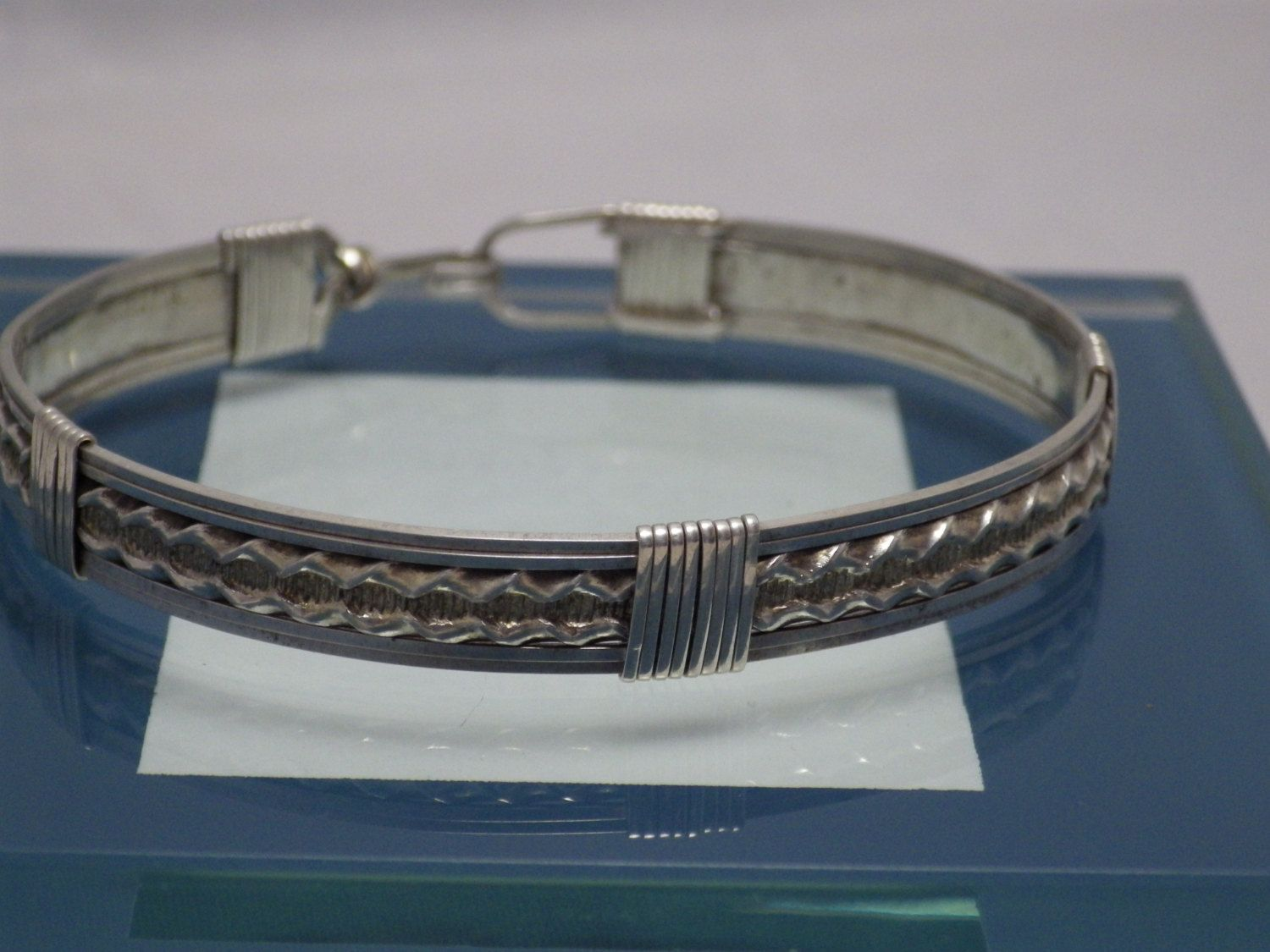 Sterling Silver Pattern Wire Bracelet by SteinGemJewelry on Etsy
