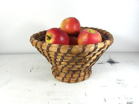 French rye coiled basket footed basket fruit by frenchvintagedream