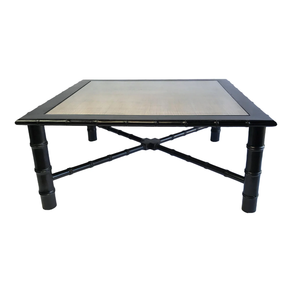 Black Bamboo And Rattan Glass Topped Coffee Table Chairish Glass Top Coffee Table Coffee Table Square Vintage Furniture For Sale [ 1000 x 1000 Pixel ]