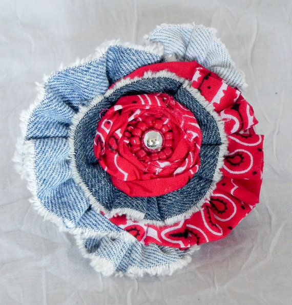 Denim Flower  use for headband hair clip brooch by ArtQueenClaire, $12.99