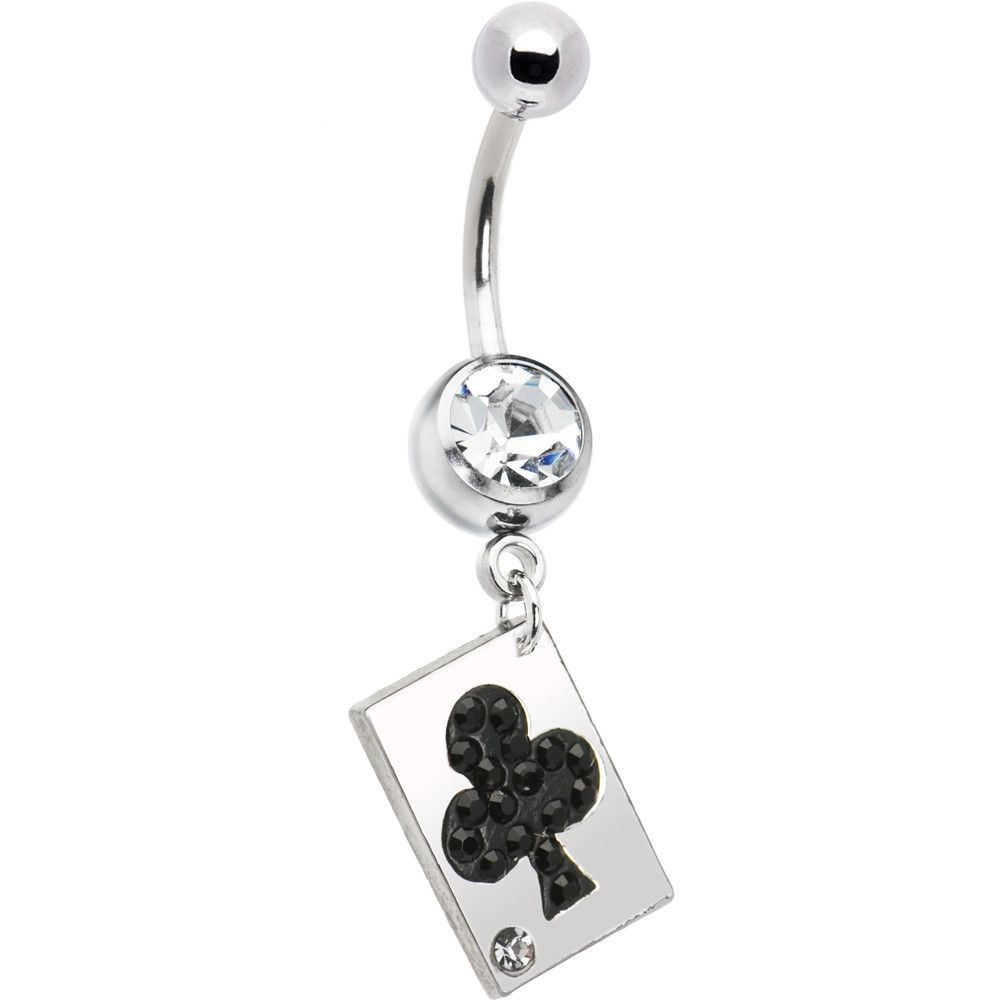 Black around belly piercing  Playing Card Black Club Belly Ring  Playing cards and Products