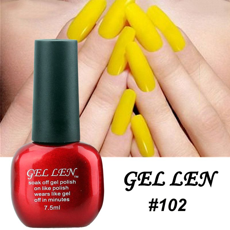 Gel Len Yellow Color Nail Gel Polish Long Lasting Soak Off Gel Led