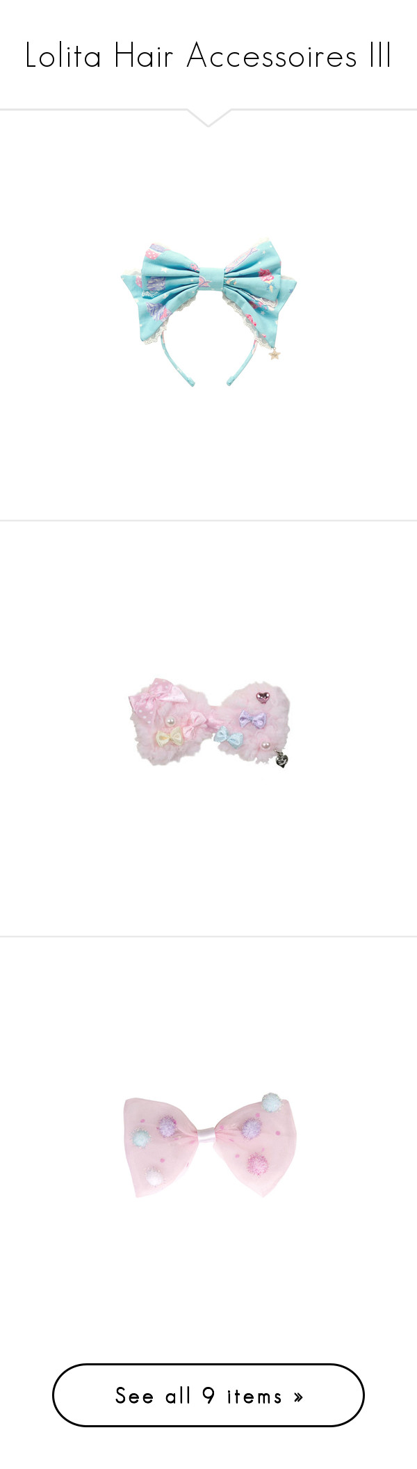 """""""Lolita Hair Accessoires III"""" by ck0427 ❤ liked on Polyvore featuring accessories, hair accessories, headband, lolita, blue, head wrap headband, blue headband, blue hair accessories, headband hair accessories and bows"""