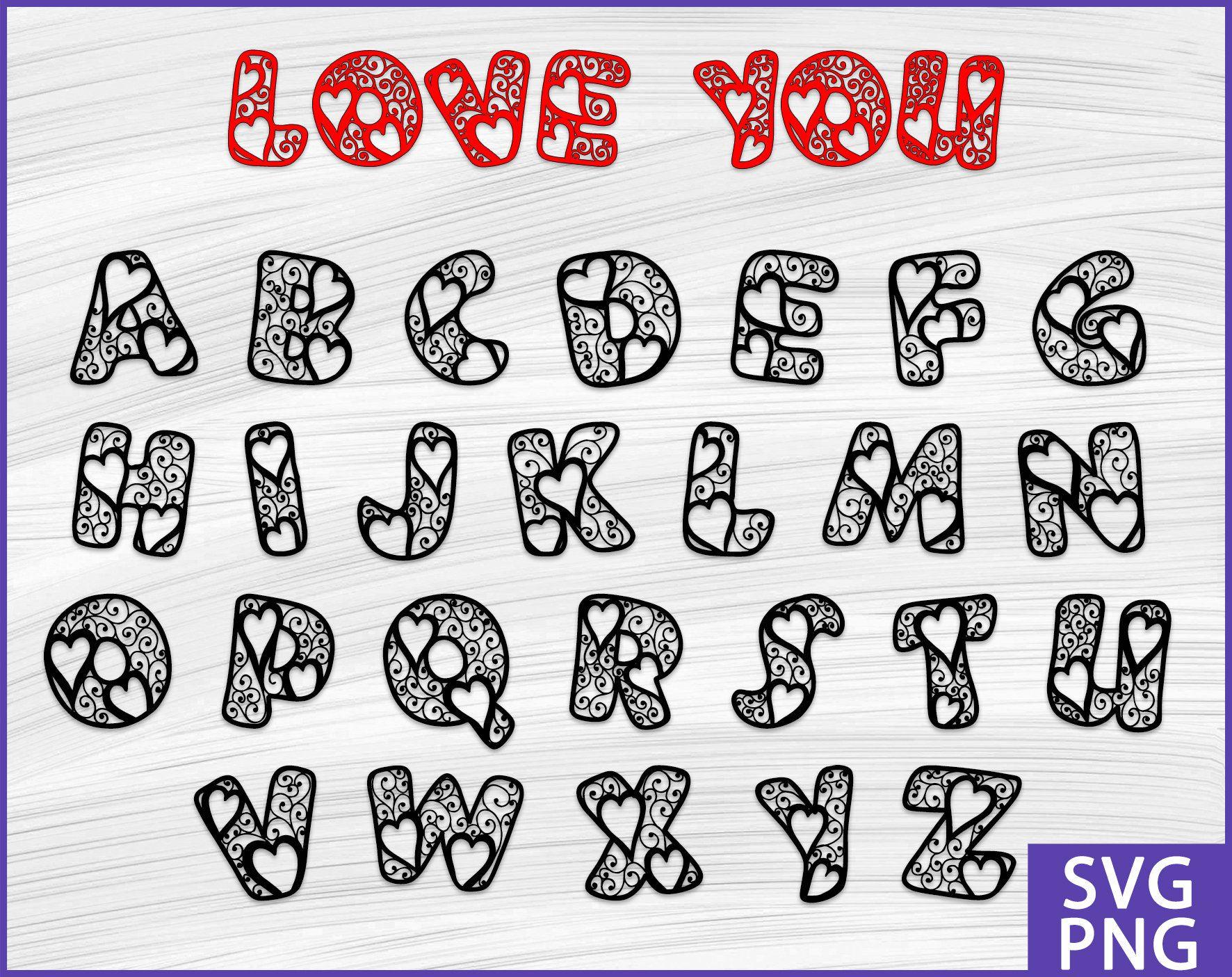 Valentines Day Font Svg Valentines Day Alphabet Svg