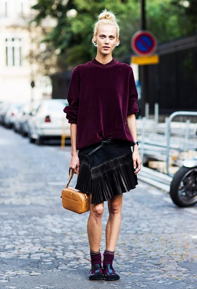 fcf80912d67 Fall   Winter Outfit Idea  Velvet maroon top styled with a chic black  fringed skirt