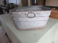"Vintage Large Galvanized Metal Wash Tub 12"" Tall 22"" Square   Lot 16-60-15-A"