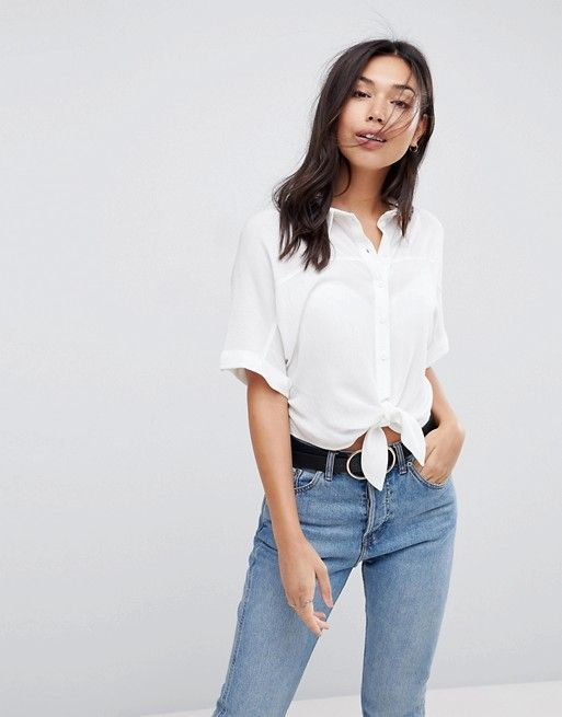 DESIGN Tie Front Shirt in Crinkle - Black Asos Cheap Wiki QkqpjT