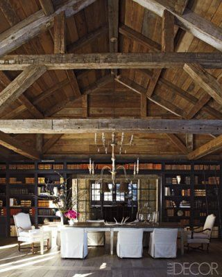 love the heavy wooden beams and visible ceiling